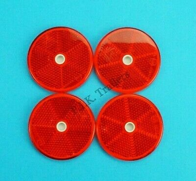 4 x XL 80mm RED Reflectors Driveway Gate Fence Posts & Trailer Horse Box