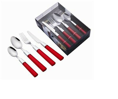 16 Piece Stainless Steel Red Cutlery Set Tableware Dining Utensils Camping Boat