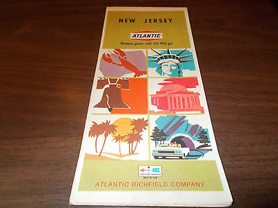 1968 Atlantic New Jersey Vintage Road Map