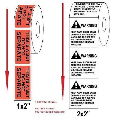 """500 """"Suffocation Warning"""" + 500 """"Do not separate"""" Self Adhesive Shipping Labels"""