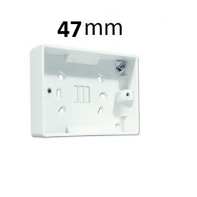 2 Gang Surface Mounted Pattress Electrical Double Socket Back Box, 47Mm, White
