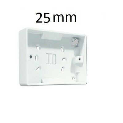 2 Gang Surface Mounted Pattress Electrical Double Socket Back Box, 25Mm, White