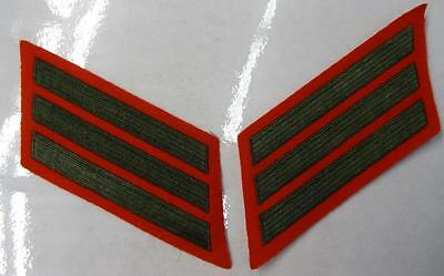 US Marine Corps Male Service Stripes 8 Years Olive On Scarlet New Pair
