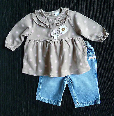 Baby clothes GIRL 0-3m NEXT outfit soft cotton dress/jeans 2nd item post-free!