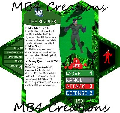 Heroscape Custom DC Riddler Figure With Double-Sided Card!