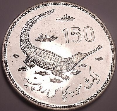 Massive Rare Silver Proof Pakistan 1976 150 Rupees~Gavial Crocodile~Free Ship~