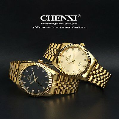 CHENXI Casual Mens Quartz Gold Crystal Analog Stainless Steel Wrist Watch Sport