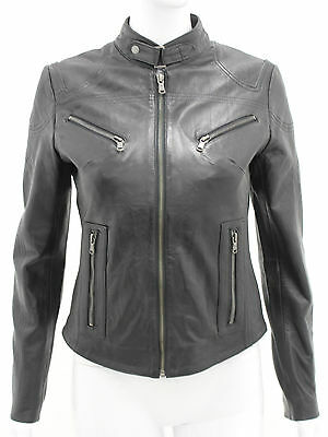 Pansy Black Ladies Womens Designer Casual Classic Party Club Real Leather Jacket