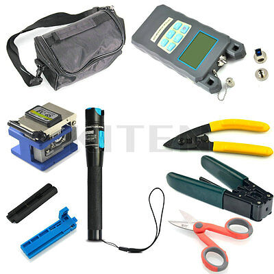 Fiber Optic FTTH Tool Kit FC-6S Cleaver Optical Power Meter 1MW Visual Finder