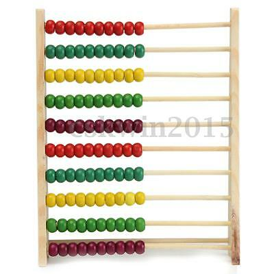 10 Beads Wooden Abacus Counting Number Preschool Kid Math Learning Teaching Toy