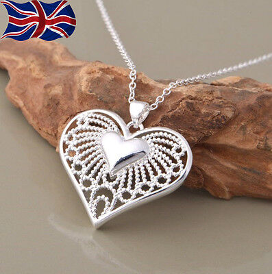 925 Sterling Silver plated Heart Necklace Filigree Chain Link Pendant Gift UK