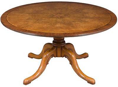 "New Antique Style Round Pedestal 60"" Dining Room Table Burled Walnut Seats 6-8"