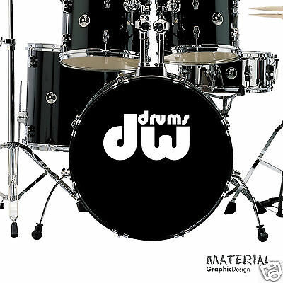 2x DW Drums Logo Sticker Decal - fork bass drum Head Drums kit Percussion Skin