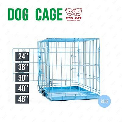 BN Folding Dog Cage Puppy Crate Blue Metal Training Pet Carrier Playpen 5 Sizes