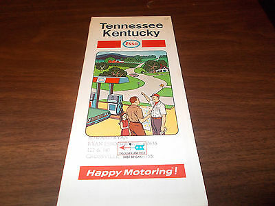 1969 Esso Kentucky/Tennessee Vintage Road Map