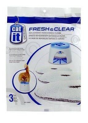 Lot de 3 filtres pour fontaine a eau chat CAT IT 2 LITRES ou CAT IT 3 LITRES