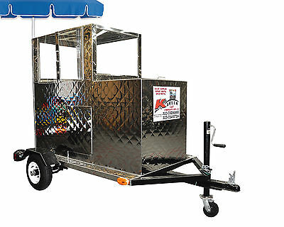Stainless Steel Fruit Cart with soda bin mounted on a trailer by Kareem Carts