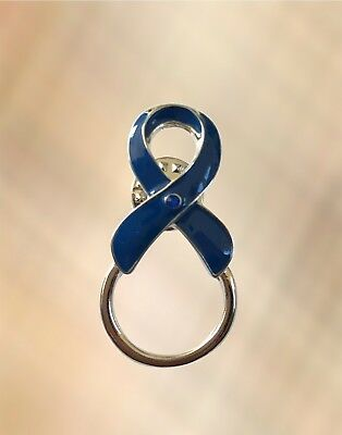 NEW Blue Ribbon Child Abuse Awareness Eye Glasses Rhinestone Brooch Pin Holder