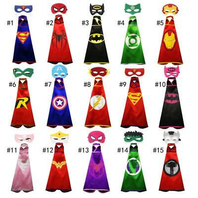 Kids Superhero Satin Cape & Mask Set, Wristbands, Party Costume Superman Batman