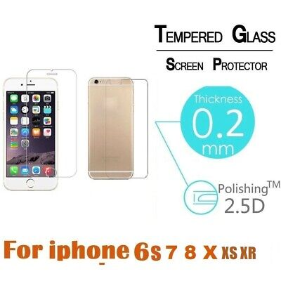 Premium Real Front and Back Tempered Glass Screen Protector For iPhone 6 7 8 X