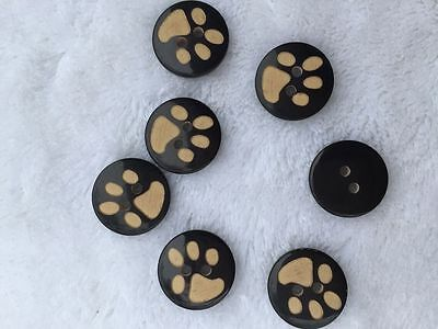 50 x Brown Paw Animal Print Buttons 2 hole Sewing Knitting 15 18 22 25mm