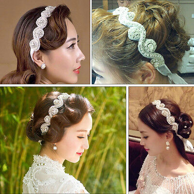 New Handmade Crystal Rhinestone beads Bridal Wedding Headband Ribbon hair band