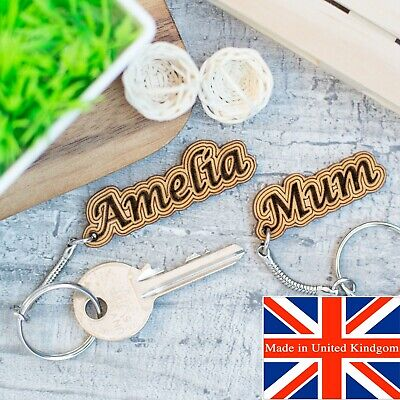 Personalised Keyring Name Gift Wooden Keychain Novelty Engraved Name Tag