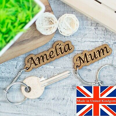 Personalised Keyring Name Gift Wooden Keychain Novelty Mothers Day Name Tag
