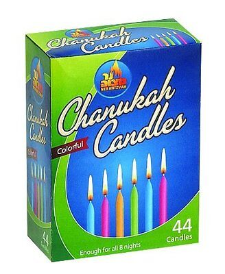 44 Traditional Hanukkah Candles Colourful 10cm Chanukah Hannukah Chanukkah