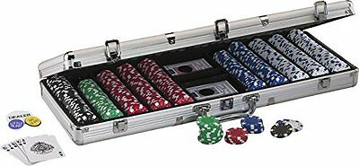 Poker Set 500pc Clay Chips New Casino Aluminum Case Cards Dice Texas Holdem
