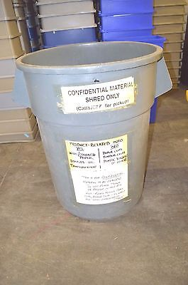 Rubbermaid Round Trash Container Gray 55 gal