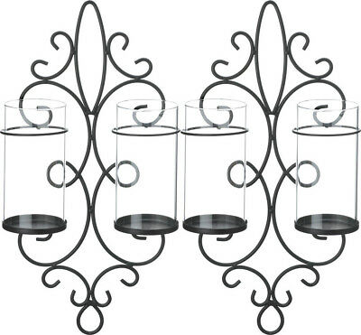 Set of 2 Black Iron & Clear Glass Double Wall Pillar Candle Holders Sconces