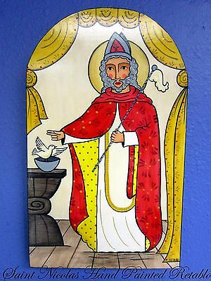 New Mexico Hand Painted ST.NICOLAS RETABLO by NM Artist ANDREA FRESQUEZ-BAROS