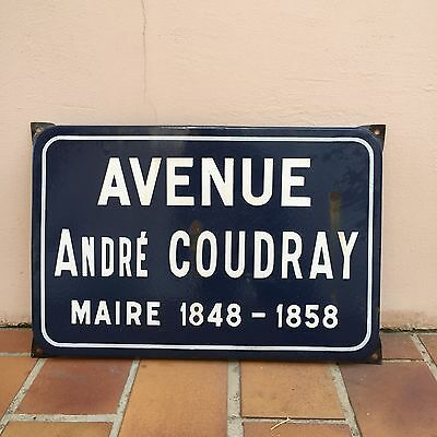 Old French Street Enameled Sign Plaque - vintage  COUDRAY