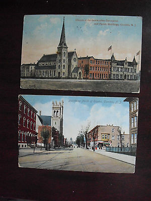 Lot of 2 Vintage 1909 1912 Camden NJ Postcards Broadway and Church Immaculate