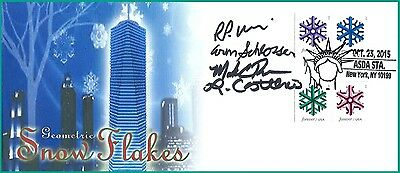 NEW 2015 Geometric Snowflakes First Day of Issue Cover Autographed