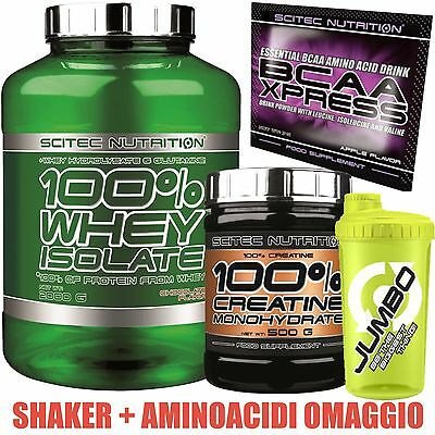 Scitec Nutrition Proteine Whey isolate idrolizzate 2kg + Creatina 500g + Bcaa