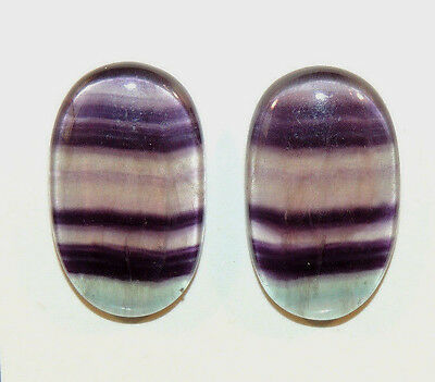 Fluorite Cabochons 25x15mm with 5mm dome set of 2 (9502)
