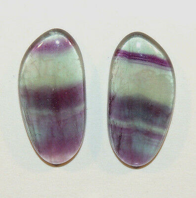 Fluorite Cabochons 27x13mm with 5mm dome set of 2 (9503)