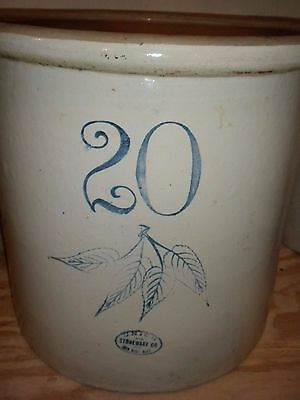 Vintage Red Wing 20 Gallon Crock 4 Leaves Union Stoneware Antique
