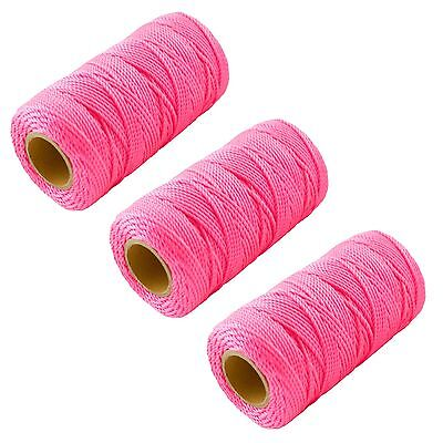 3 X Pink 70M Builders Building Brick Laying Measuring Masonry Rope String Line