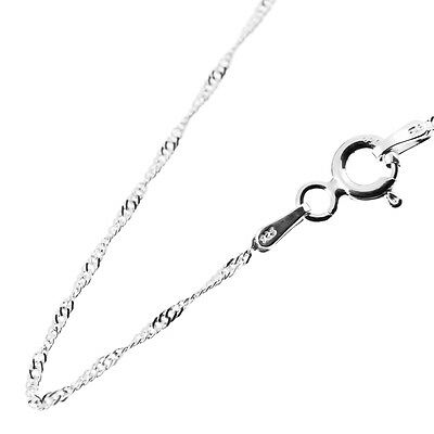 """Solid 925 Sterling Silver 1mm Twisted Curb Singapore Chain Necklace 16"""" 18"""" 20"""""""