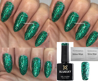 Bluesky Gel Polish Emerald Green Glitter S08N Christmas Tree Nail Led Uv Soakoff