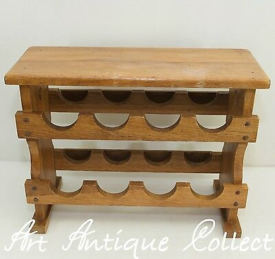 Wine rack Side table Bottle rack Shelf for8 Wine Bottles Vintage Wood Oak