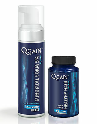 Qgain MINOXIDIL FOAM FOR MEN 5% 3 Month Supply 180ml bottle + Hair Loss Tablets