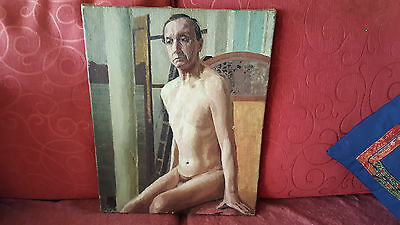 Early 20th Century Probable 1930s Male Nude Oil on Canvas