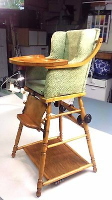 ANTIQUE CONVERTIBLE High/Low High-chair w/ Wheels E.L Thompson
