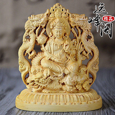 Old Collectibles Decorated Handwork Boxwood Carving Dragon Kuan-yin Statue Nice