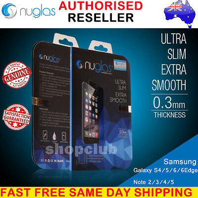 GENUINE NUGLAS Tempered Glass Screen Protector Samsung Galaxy S4 S5 S6 S7 Note