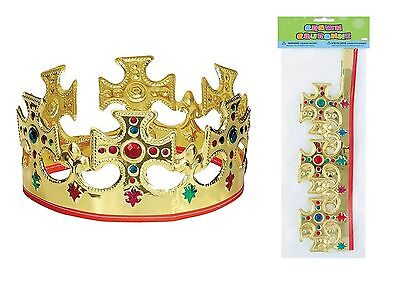 Xmas Royal Gold Crown Party Fancy Dress Nativity Queen King Jewel Accessory
